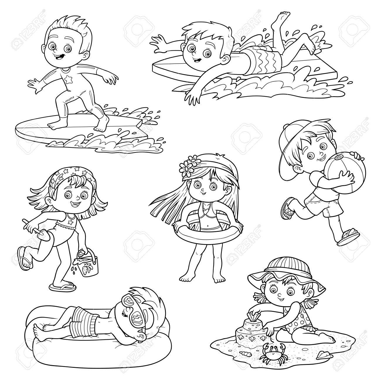 Set Of Cute Children On Summer Vacation Happy Childhood Black And White Characters In