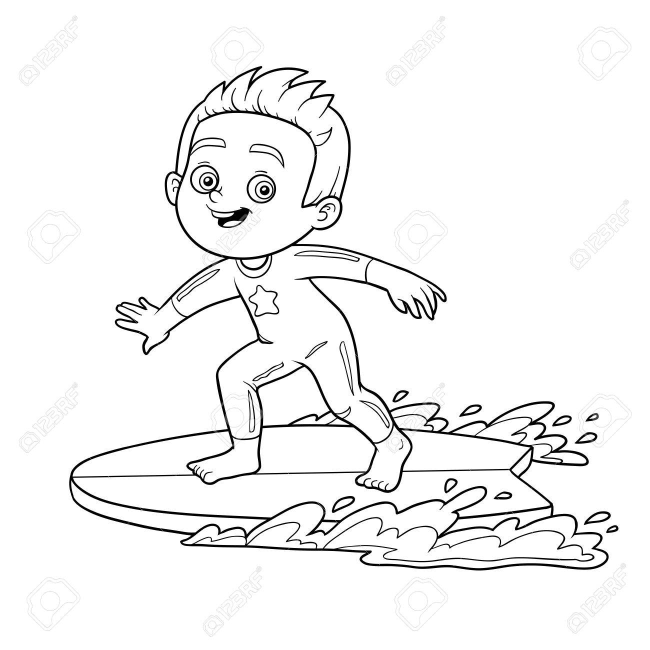 Coloring Book For Children. A Boy Riding A Surf Royalty Free ...