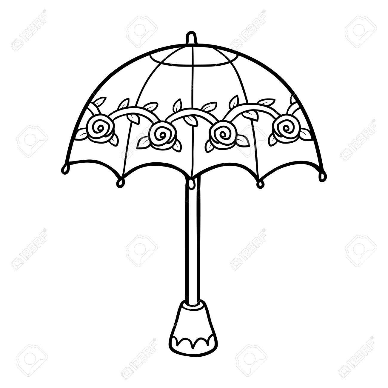 Coloring Book For Children Cute Umbrella