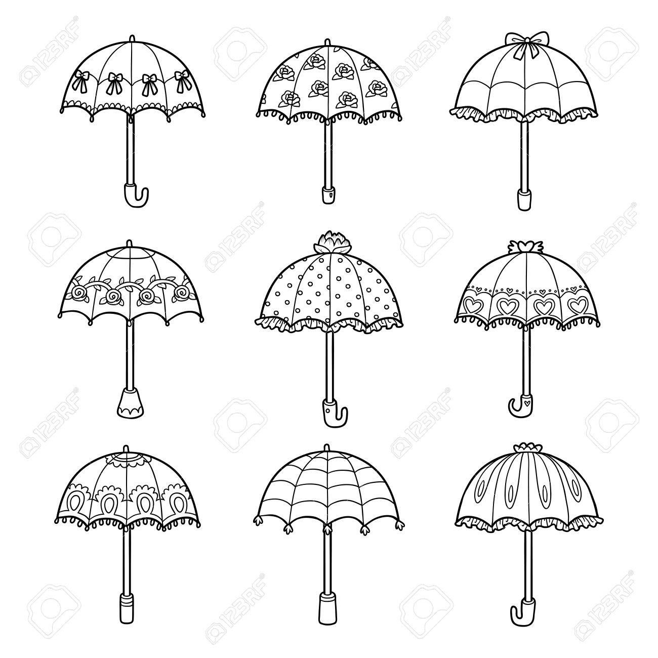 Vector vector black and white set of umbrellas