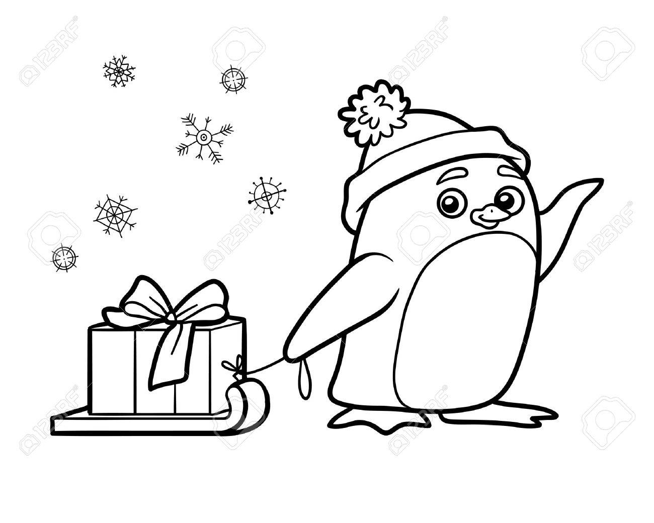 Coloring Book For Children, Cute Penguin With Christmas Gift Royalty ...