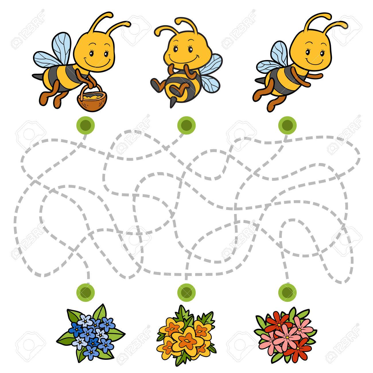 Maze game, education game for children. Help the bees to find their way to the flowers! - 60596585