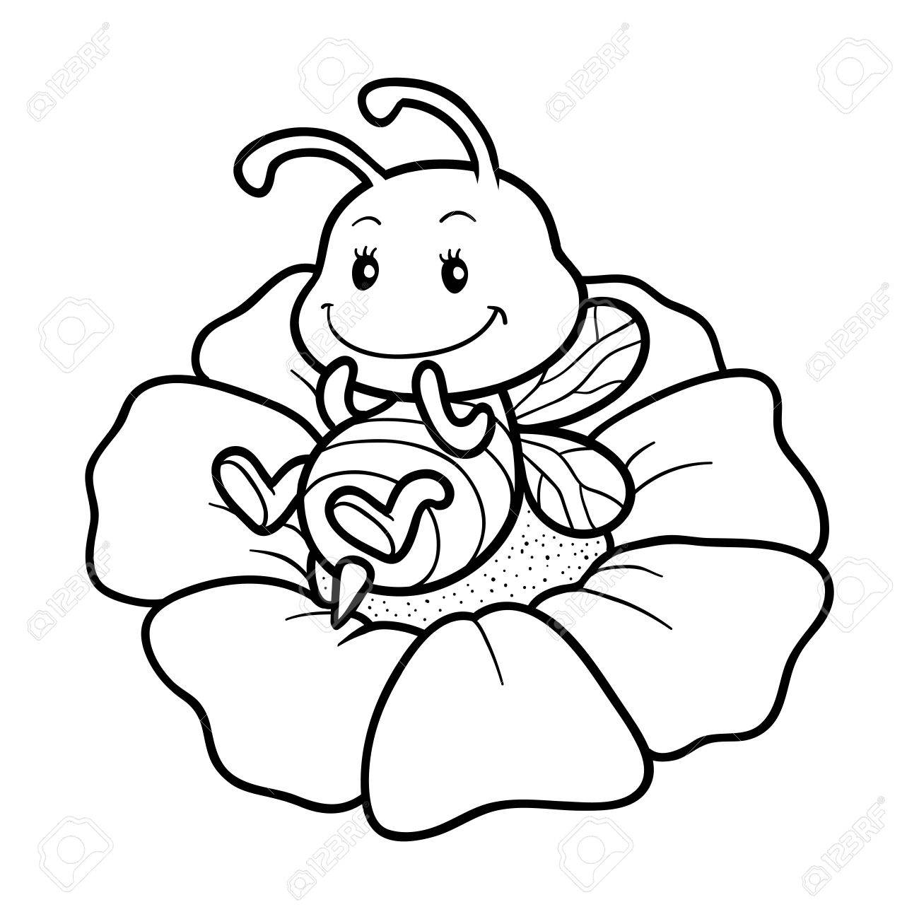 coloring book for children coloring page with a small bee stock vector 60596620 - Small Coloring Books