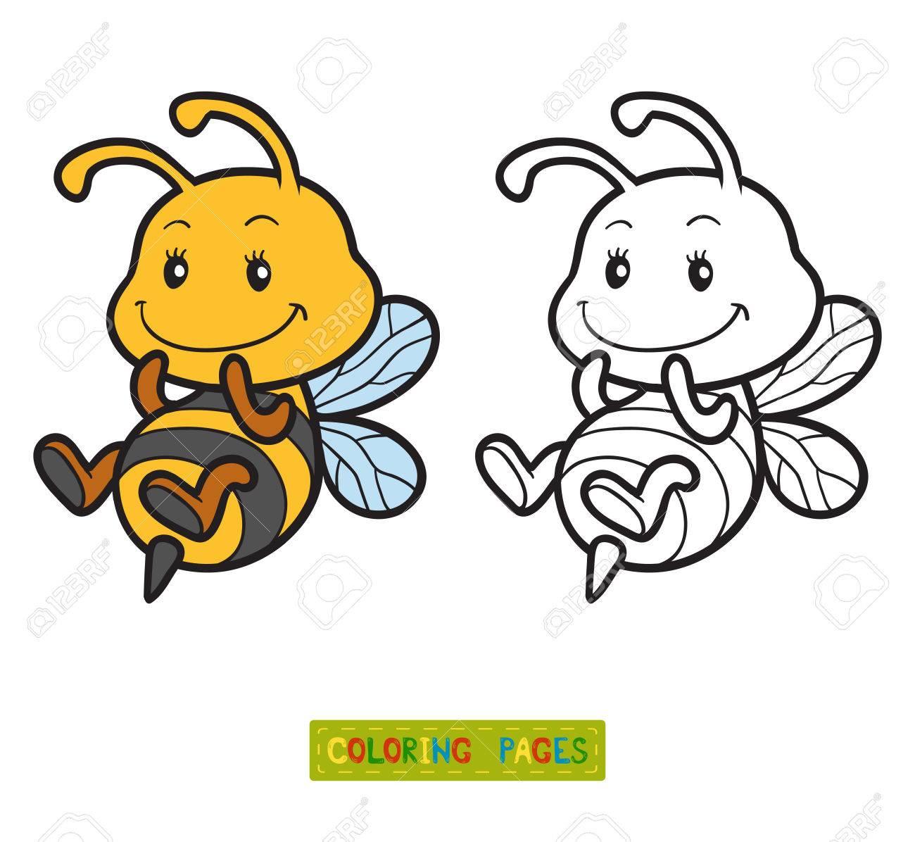 Malbuch für Kinder, Malvorlagen mit einer kleinen Biene