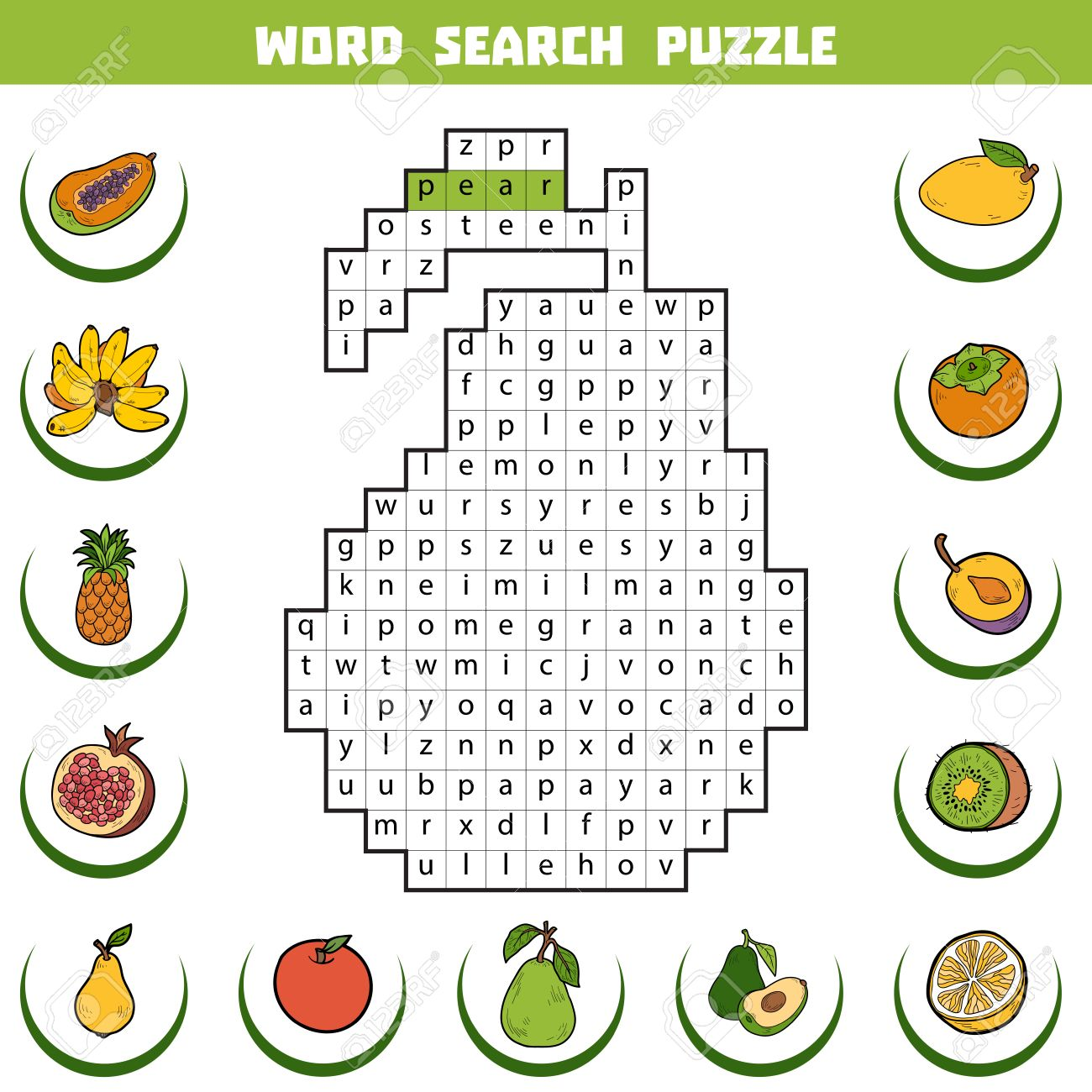 vector color crossword education game for children about fruits