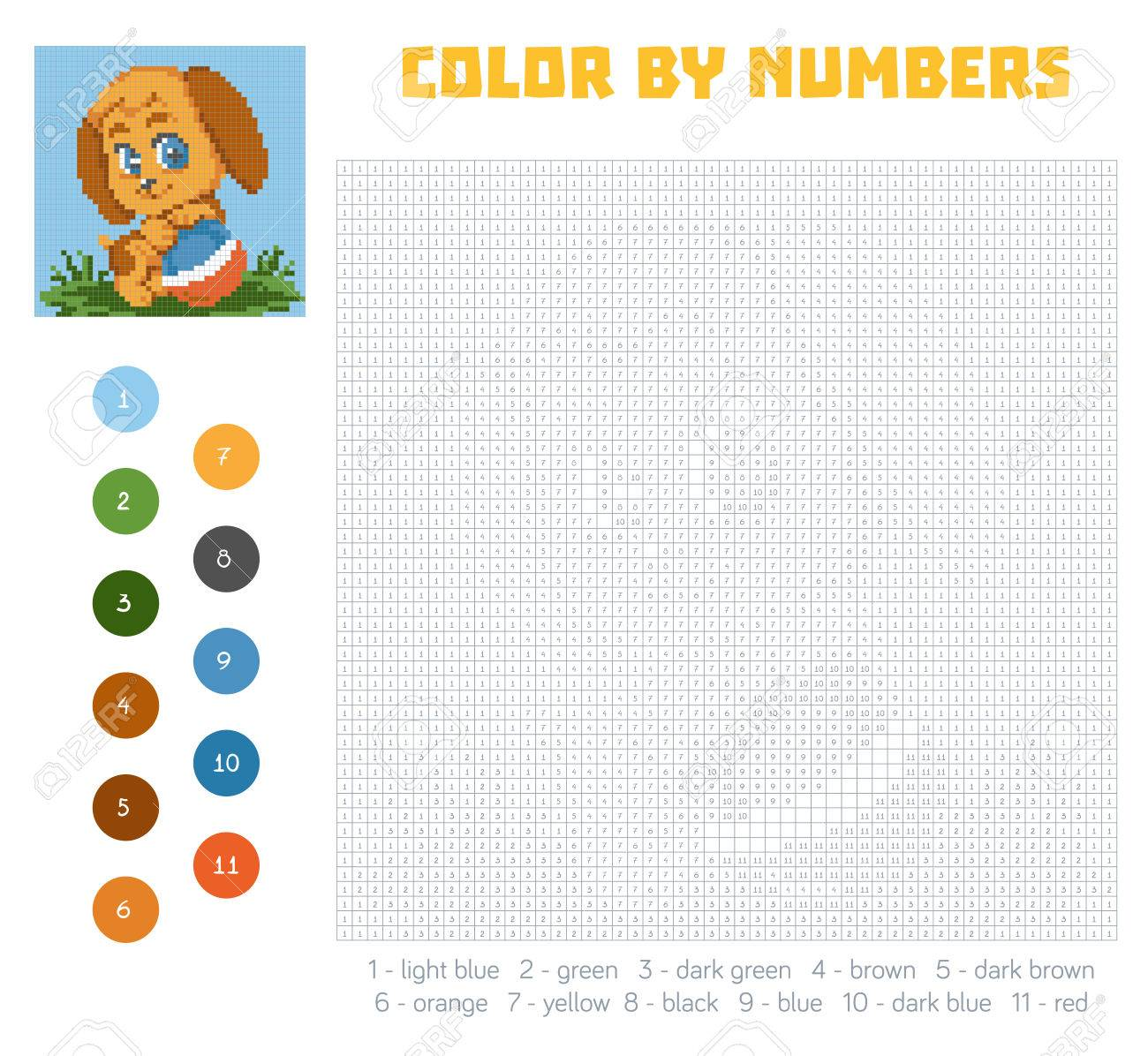 Color By Number Education Game For Children Cute Dog Character Coloring Book With
