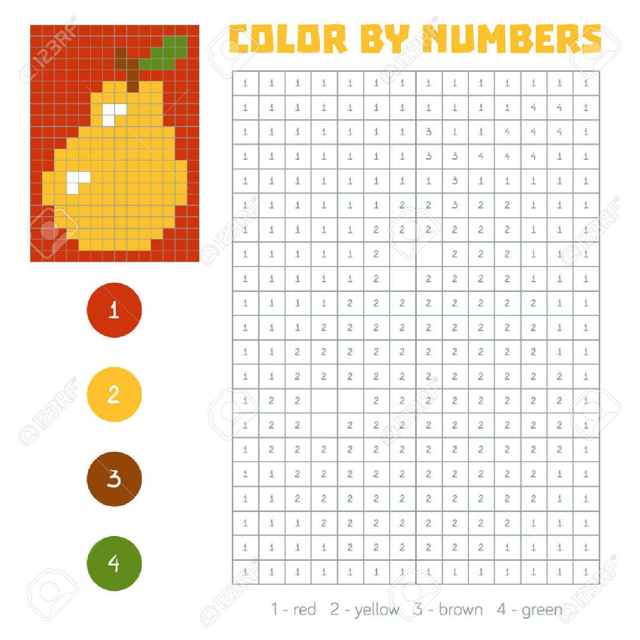Game color squares - Color By Number Education Game For Children Fruits And Vegetables Pear Coloring