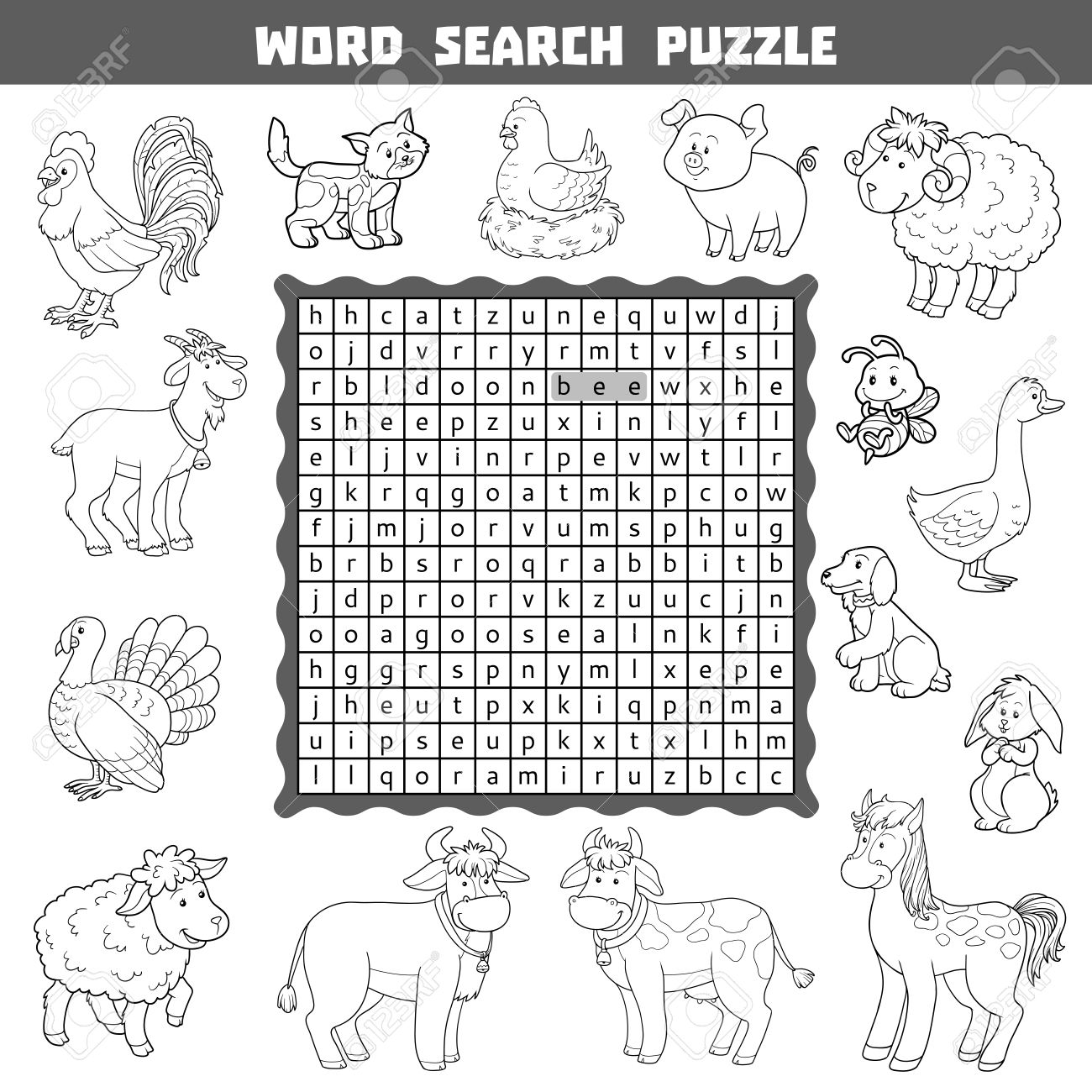 vector black and white crossword education game for children