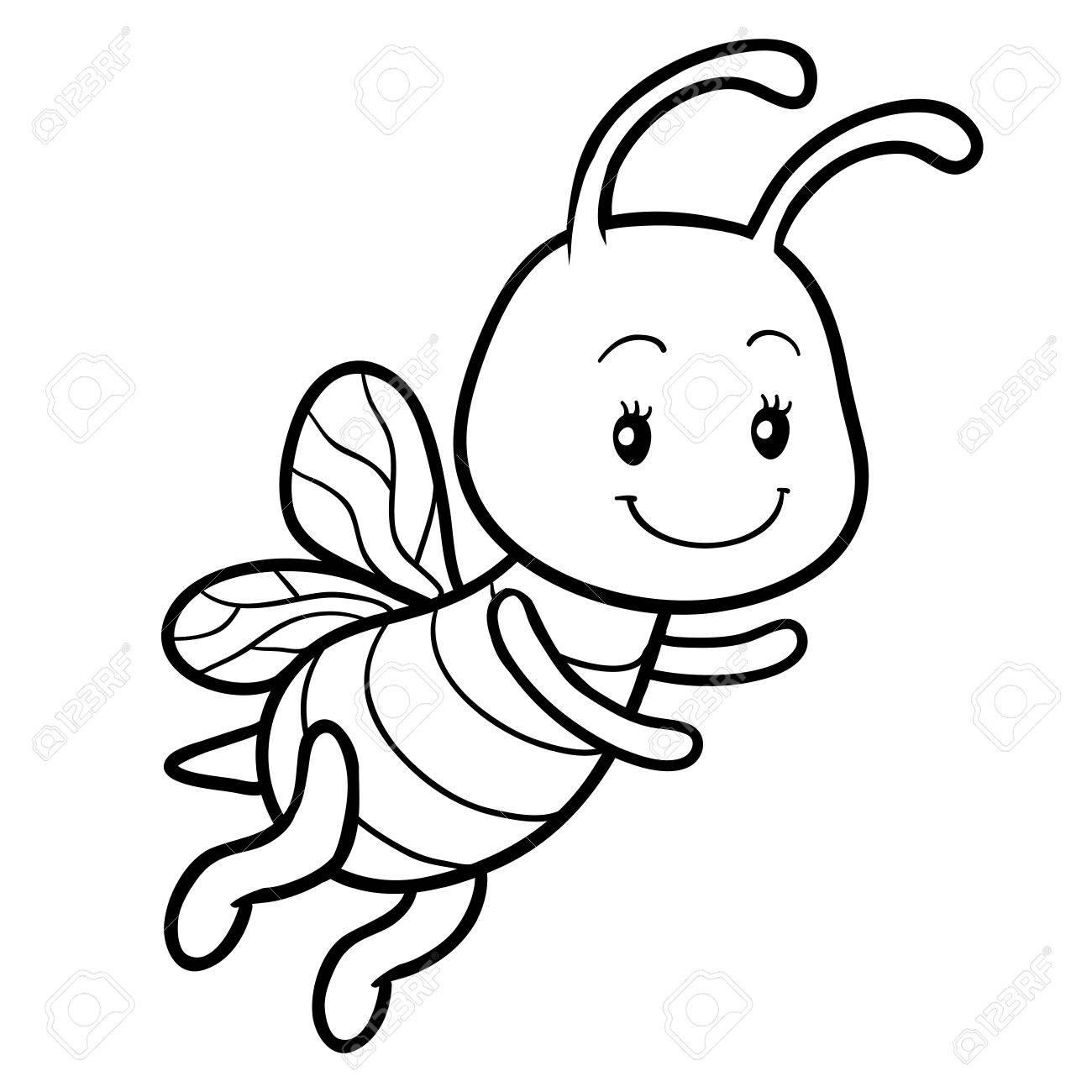 - Coloring Book For Children, Coloring Page With A Small Bee Royalty