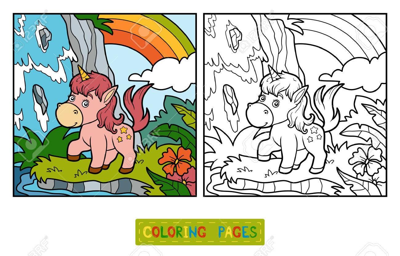 Coloriage Fee Sur Licorne.Livre De Coloriage Pour Les Enfants Fee De Licorne Et Arc Clip Art