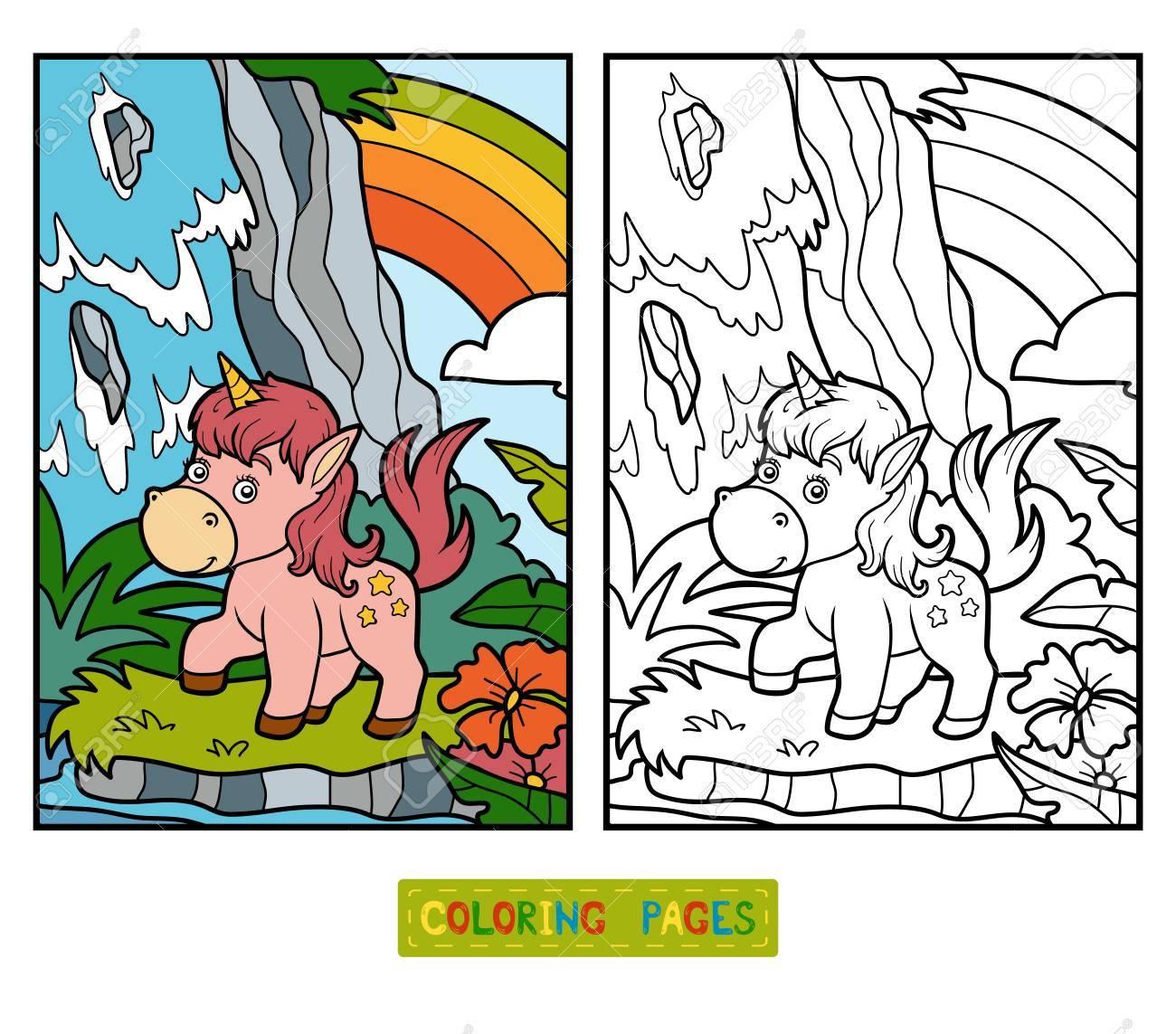 Livre De Coloriage Pour Les Enfants Fée De Licorne Et Arc Clip Art