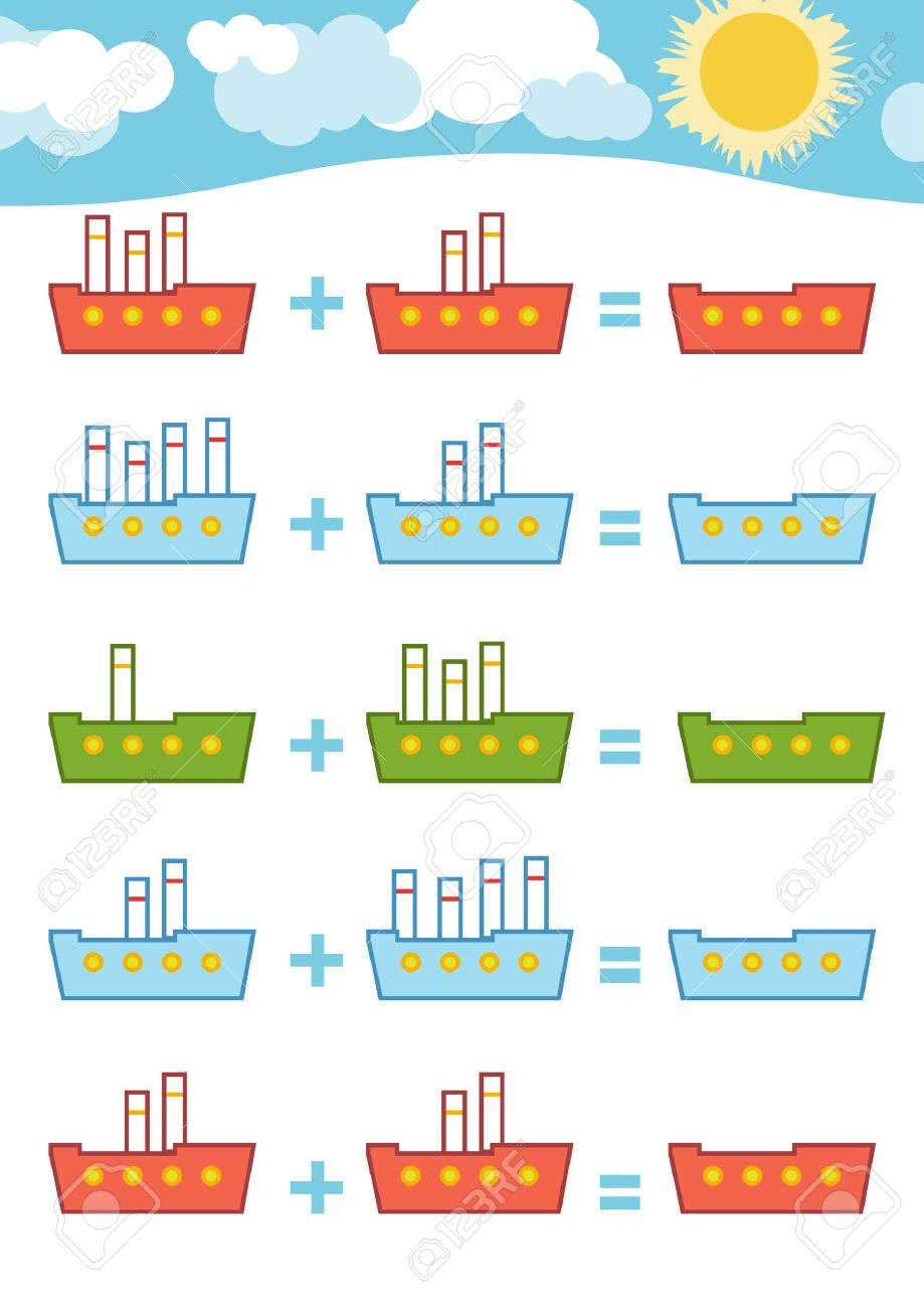 Counting Game for Preschool Children. Educational a mathematical game. Count the numbers in the picture and write the result. Addition worksheets - 62153879
