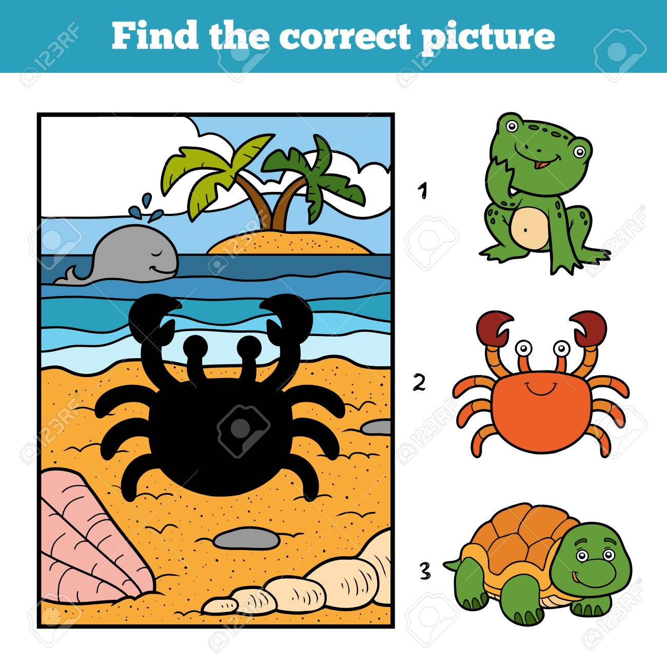 Find the correct picture, education game for children. Little crab and background - 62153898
