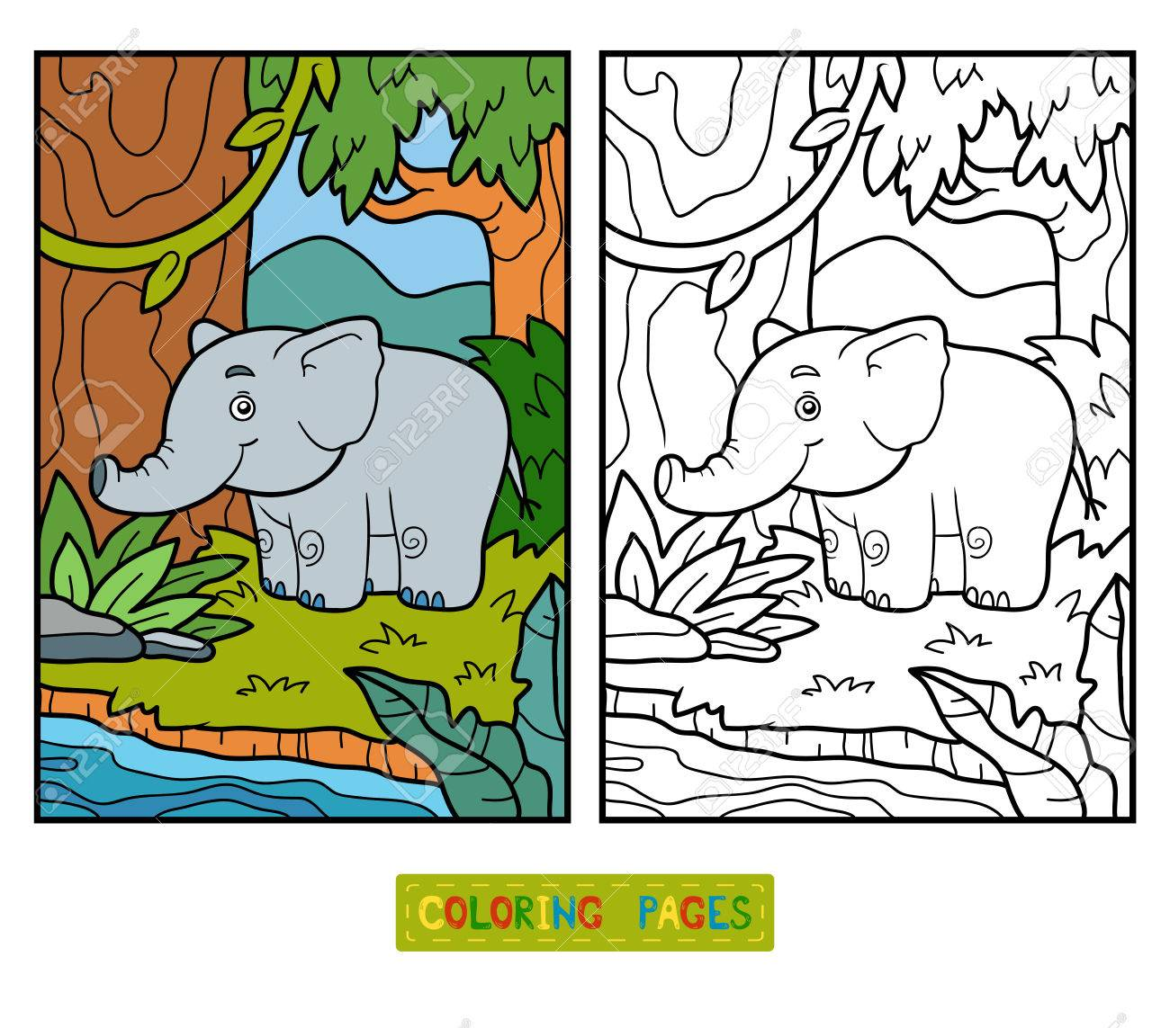 Coloring Book For Children, Elephant And Background Royalty Free ...