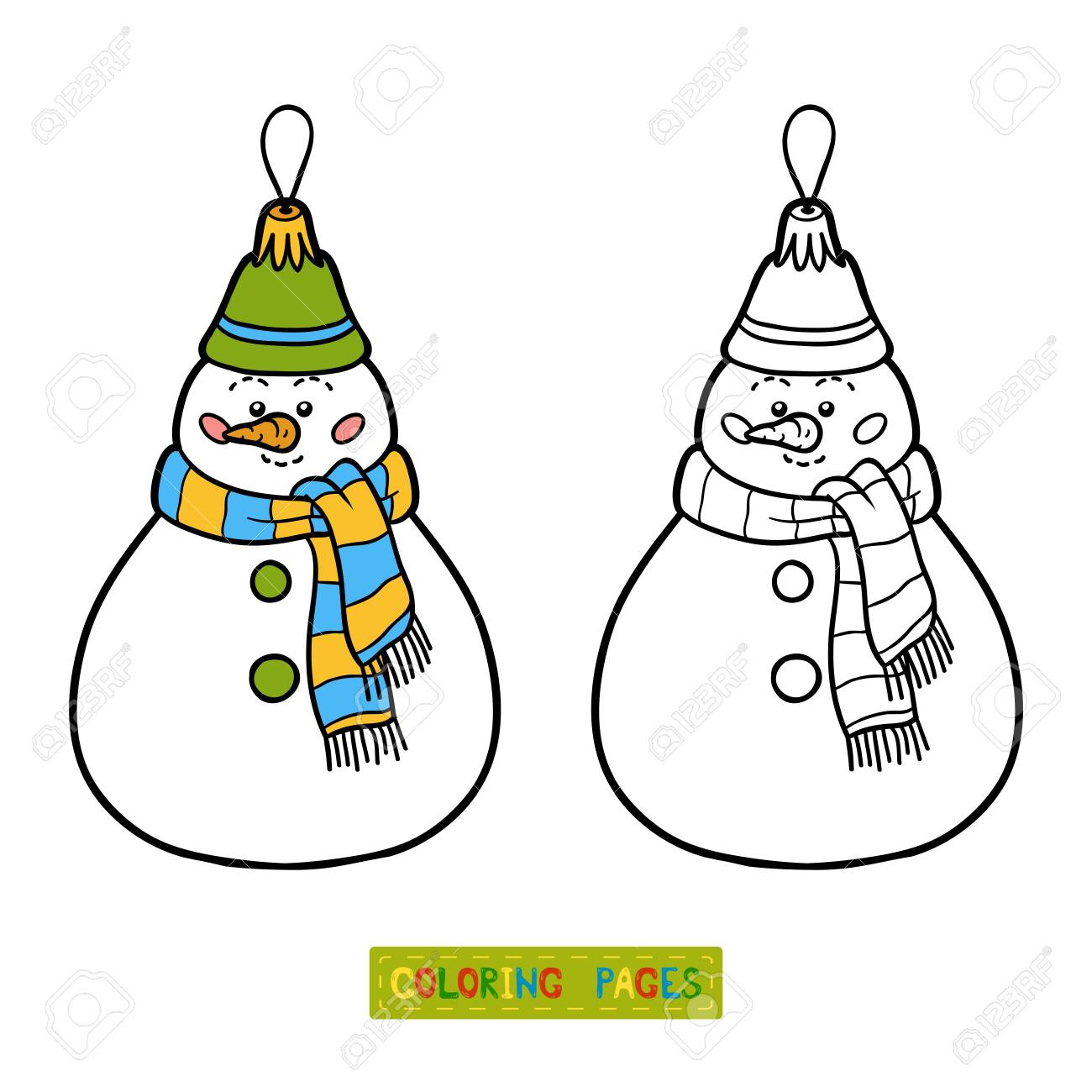 Coloring Book For Children Christmas Tree Toy Snowman Stock Vector