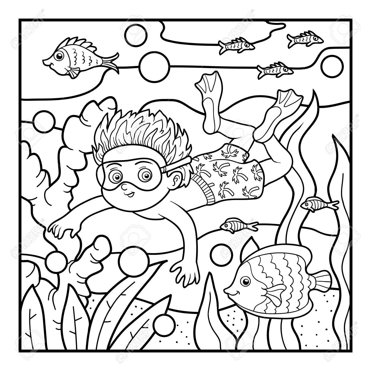 Coloring Book For Children, Little Boy Swimming In The Sea Royalty ...