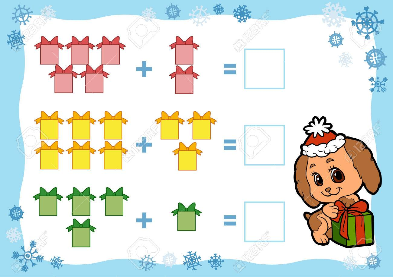 Counting Game for Preschool Children. Addition worksheets. Christmas gifts. Educational a mathematical game. Count the numbers in the picture and write the result. - 63046254