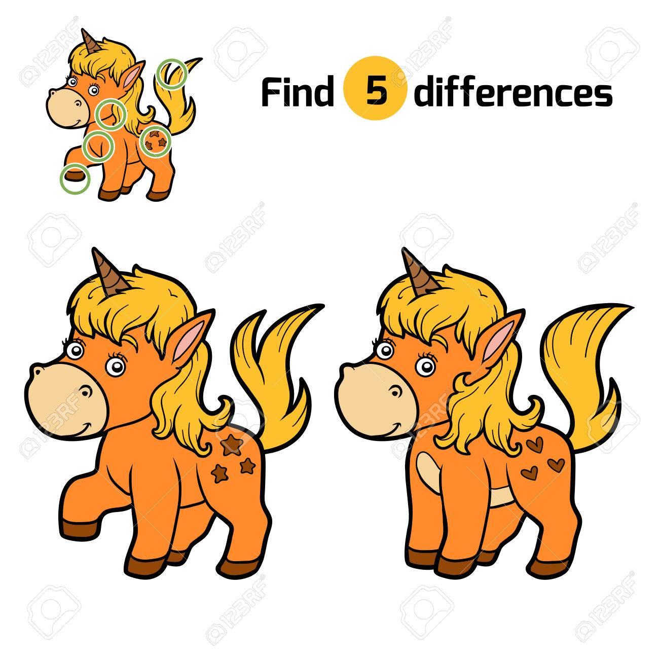 Finden Sie Unterschiede, Bildung Spiel Für Kinder, Einhorn ...
