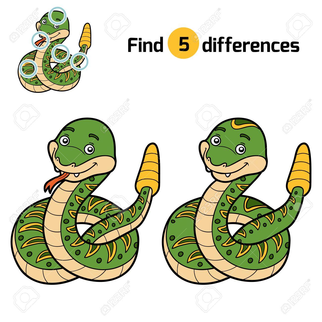 Finden Sie Unterschiede, Bildung Spiel Für Kinder, Rattle Schlange ...