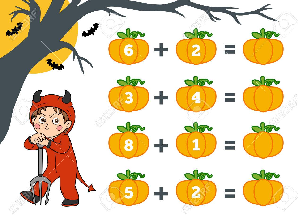 Fruit devil game - Counting Game For Preschool Children Halloween Characters Devil Educational A Mathematical Game