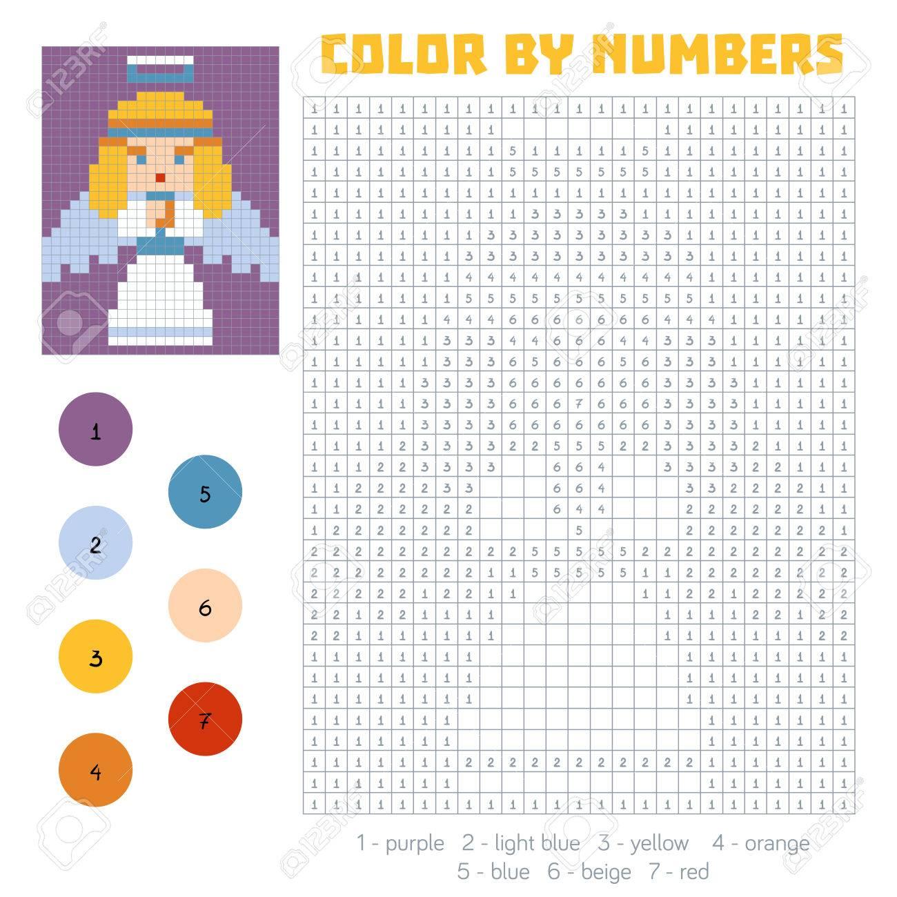 Farbe Nach Anzahl, Ausbildung Spiel Für Kinder, Engel Lizenzfrei ...
