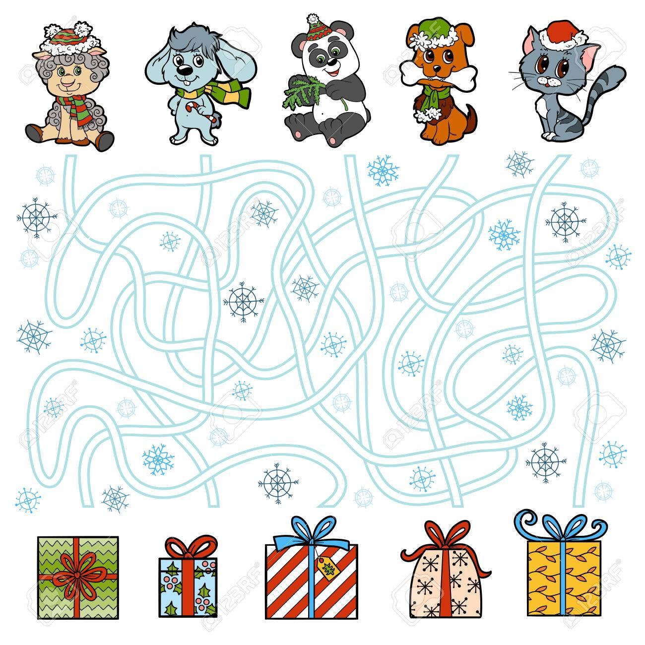 Regalos Para Ninos Pequenos.Juego De Laberinto Educacion Para Los Ninos Pequenos Animales Y Los Regalos De Navidad