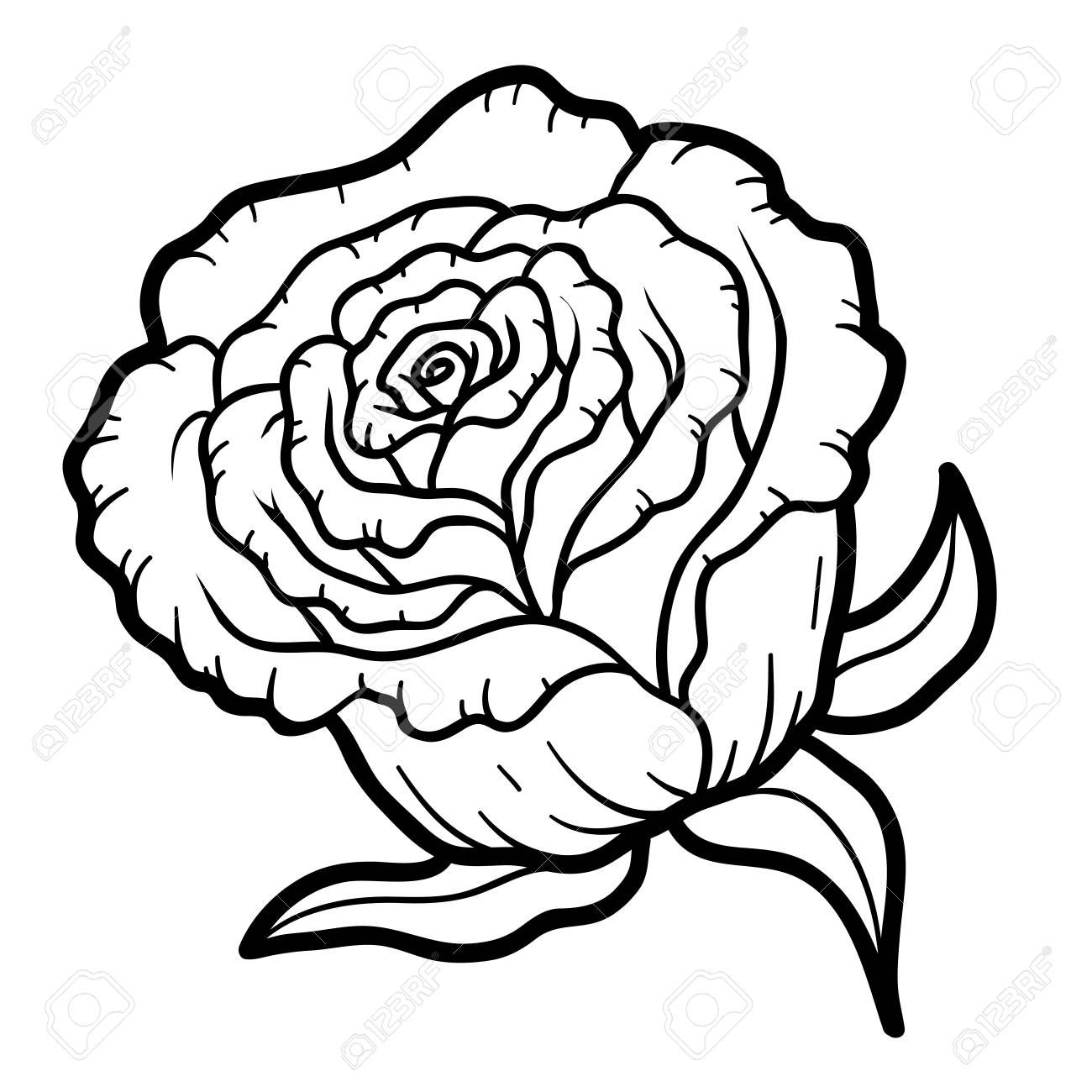 Coloring Book For Children, Flower Rose Royalty Free Cliparts ...