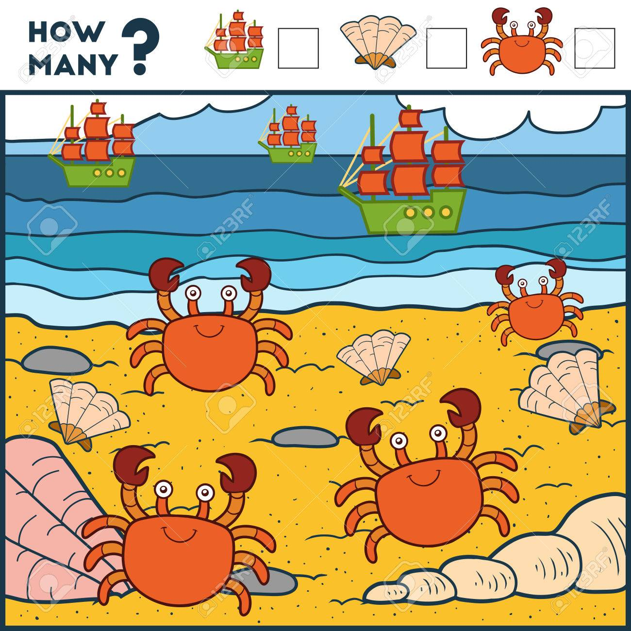 Counting Game For Preschool Children. Educational A Mathematical ...