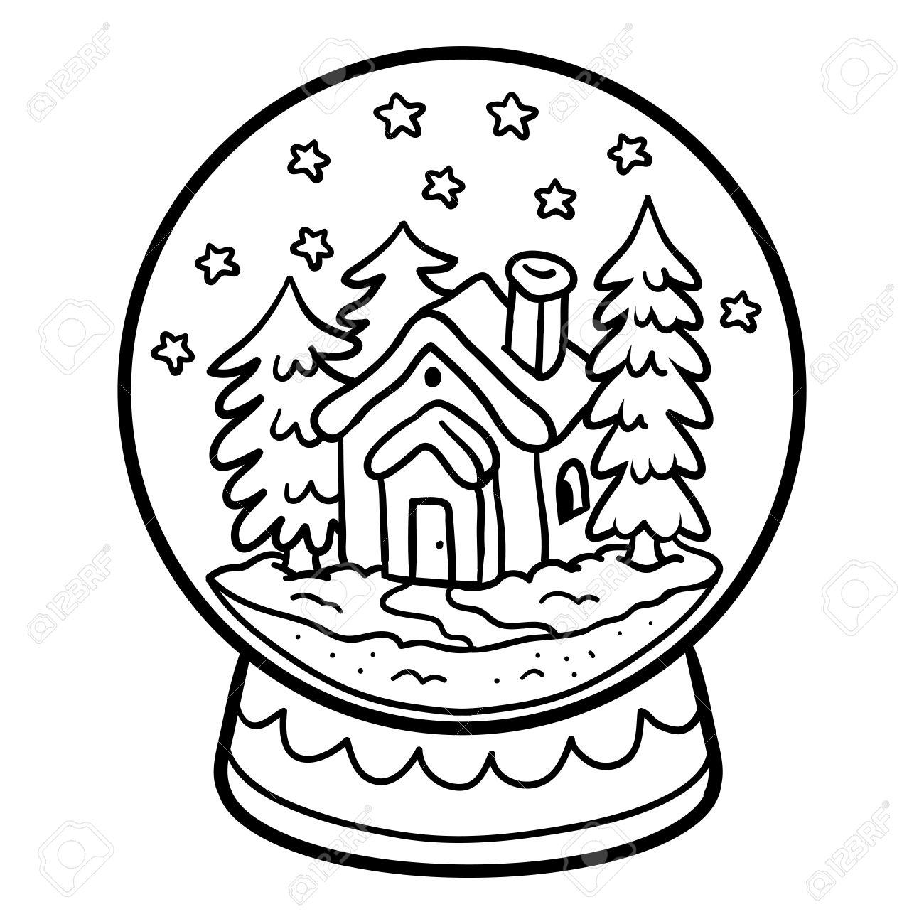 子供のための塗り絵冬の家の雪だるまのイラスト素材ベクタ Image
