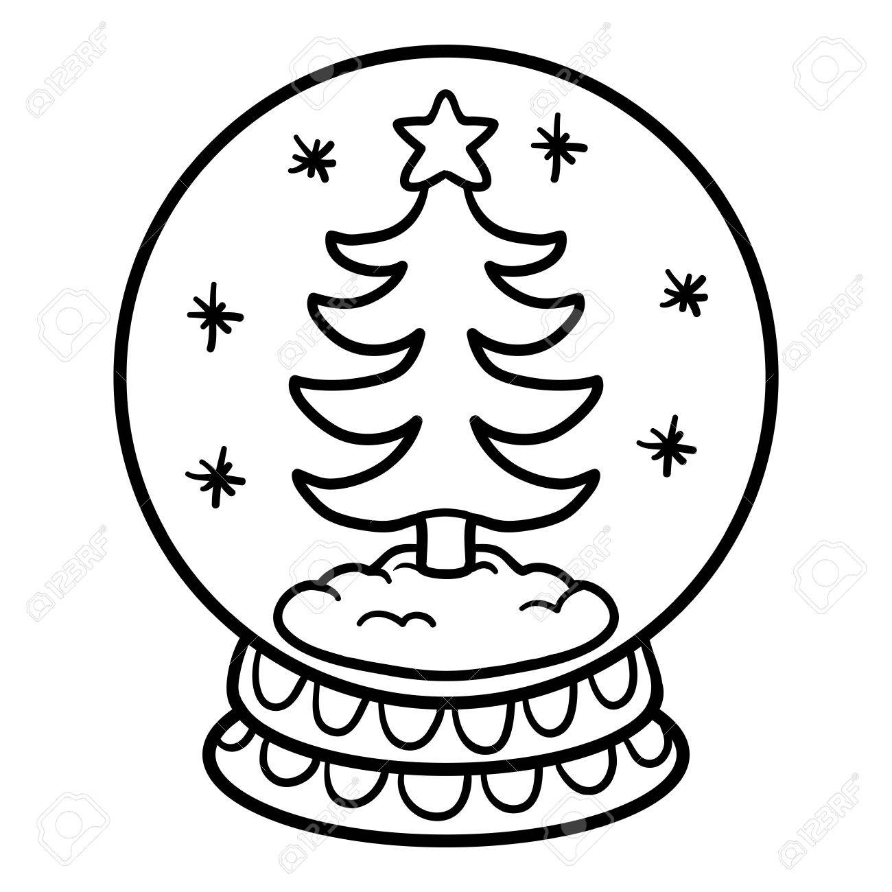 coloring book for children winter snowball with christmas tree