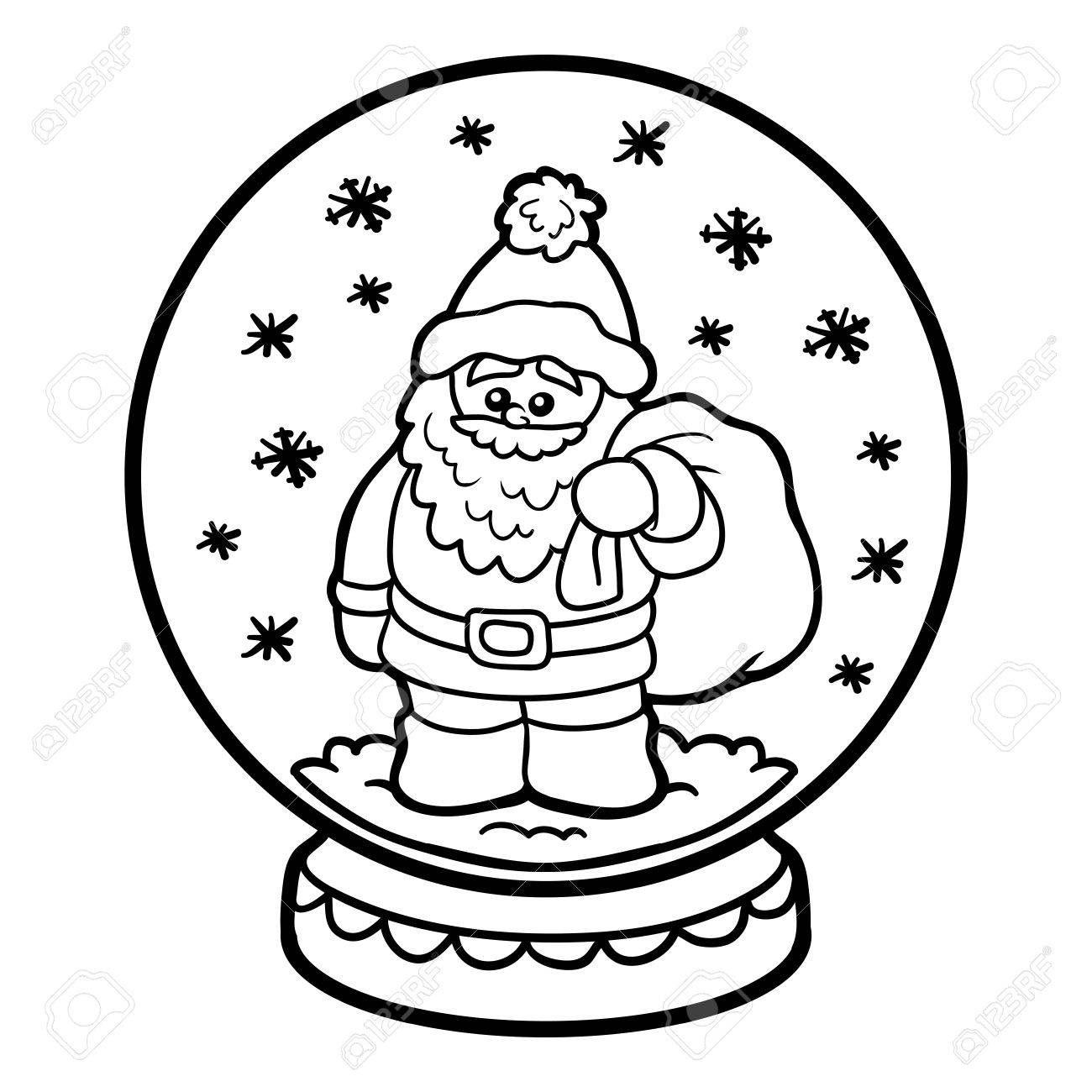 coloring book for children winter snowball with santa claus stock vector 66575151