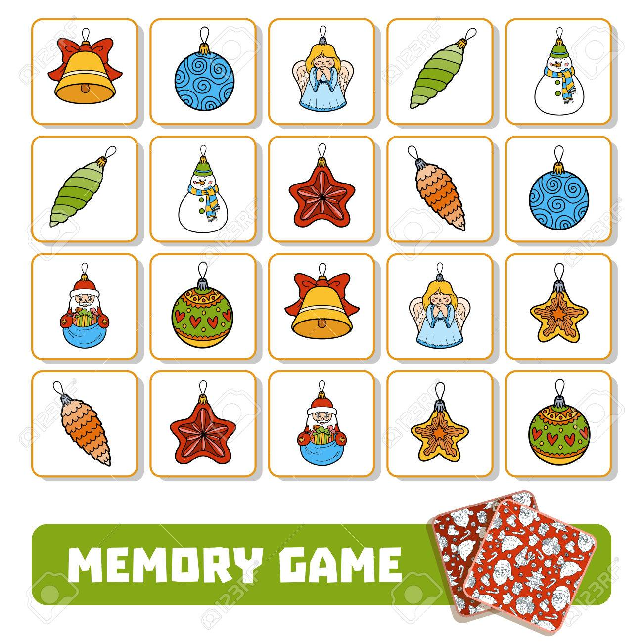 Christmas Preschool.Memory Game For Preschool Children Vector Cards With Christmas