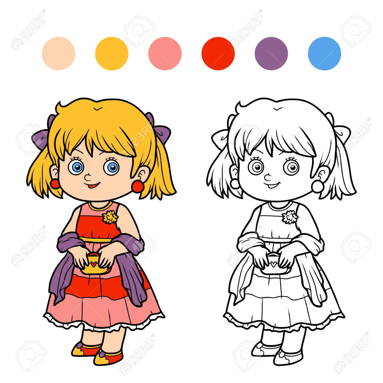 ドレスを着た女の子子供のための塗り絵のイラスト素材ベクタ Image