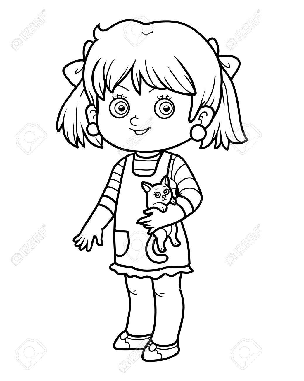 Dibujo Para Colorear Para Ninos Nina Con Un Gato Ilustraciones
