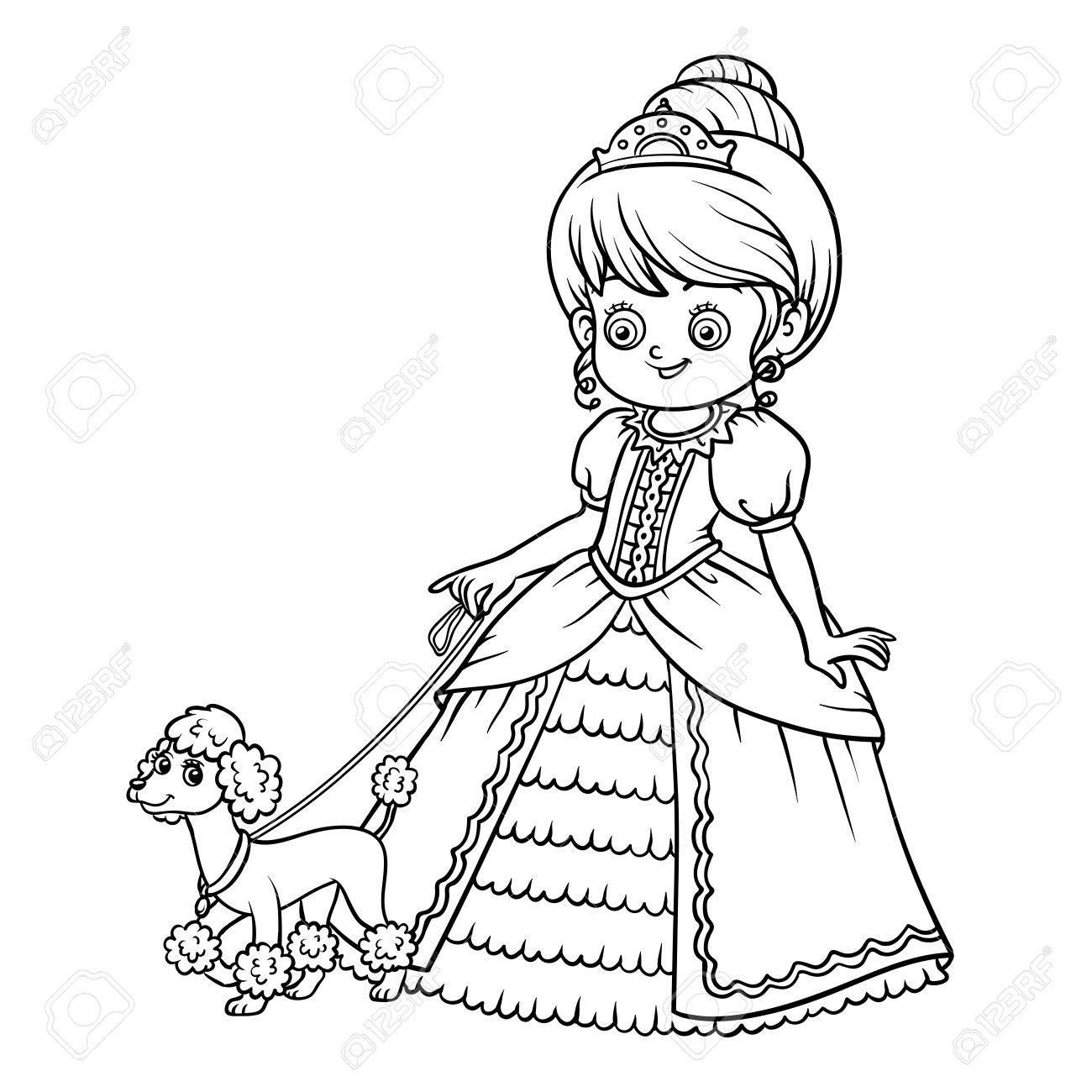 Libro Para Colorear Para Los Niños Personaje De Dibujos Animados La Princesa Con El Caniche