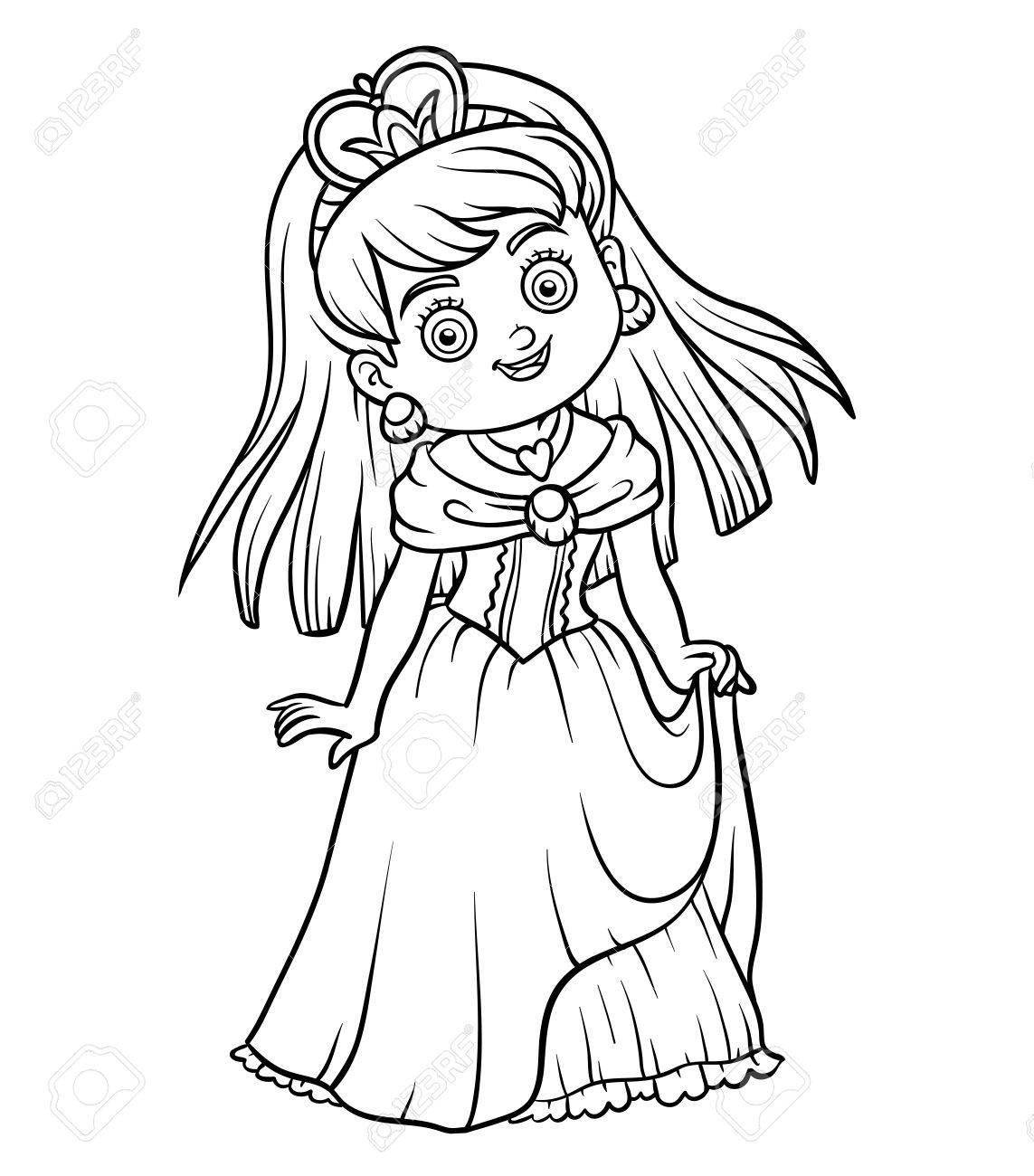 Dibujo Para Colorear Para Niños Personaje De Dibujos Animados Princesa