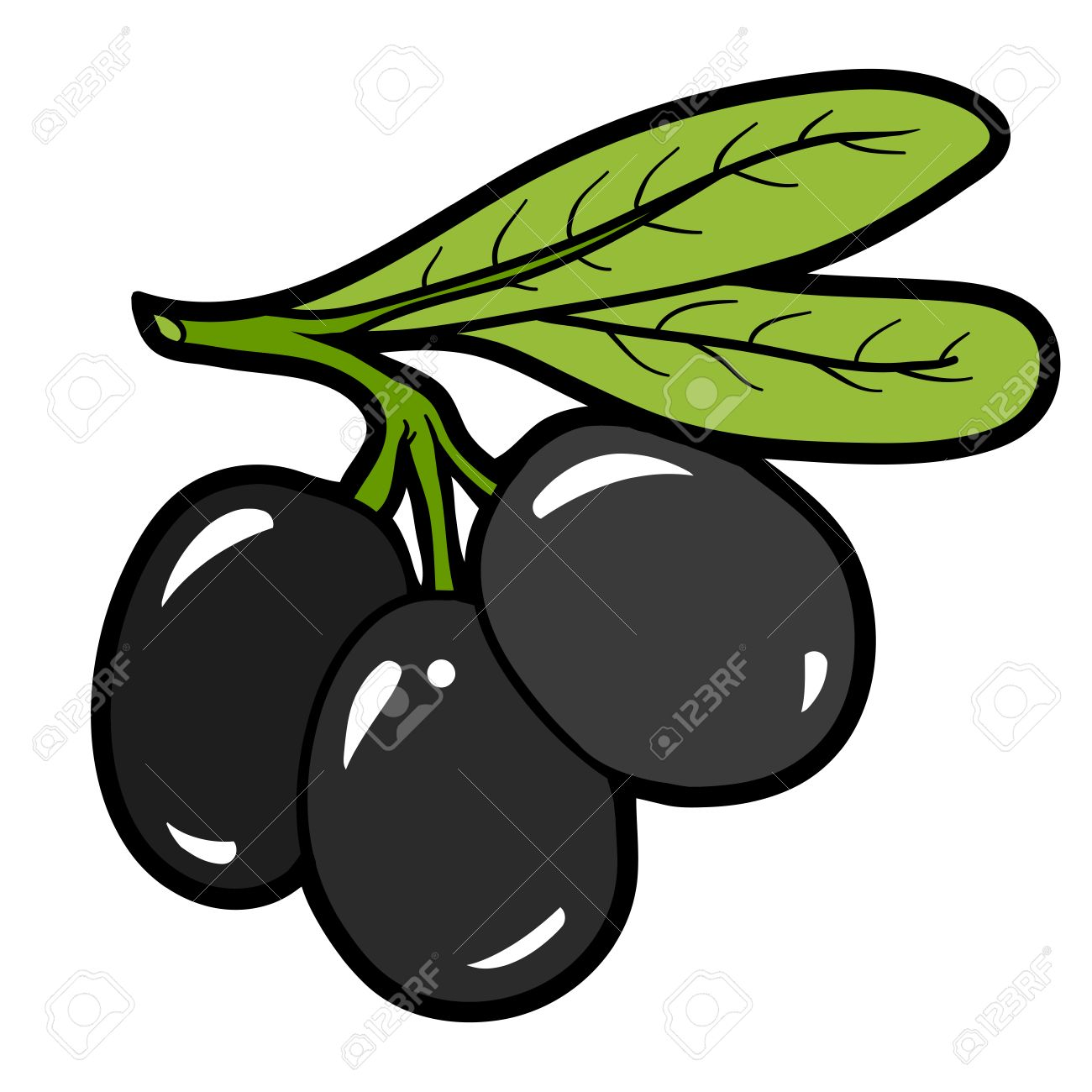 Color Image, Vector Cartoon Berry, Olives Royalty Free Cliparts ...