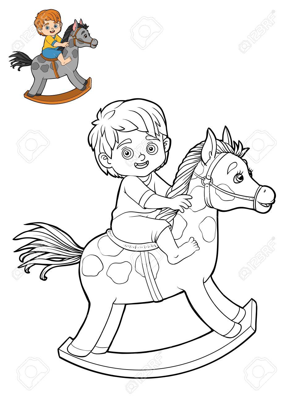 Livre A Colorier Pour Les Enfants Personnage De Dessin Anime Petit Garcon Sur Un Cheval A Bascule Banque D Images Et Photos Libres De Droits Image 70379165