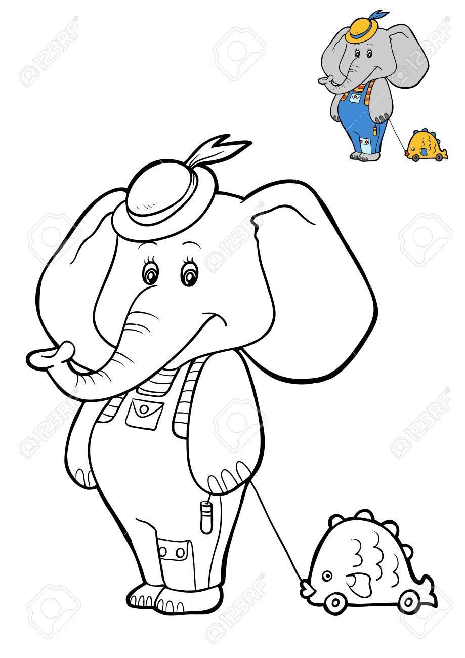 Libro De Colorear Para Niños, Personaje De Dibujos Animados Elefante ...