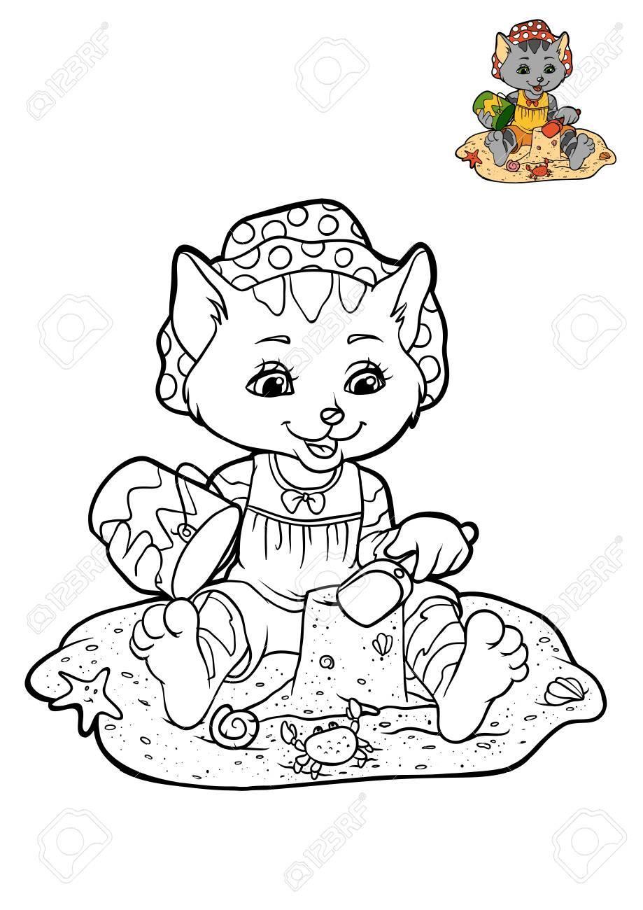 ビーチで小さな猫漫画のキャラクターの子供のための塗り絵 の写真素材