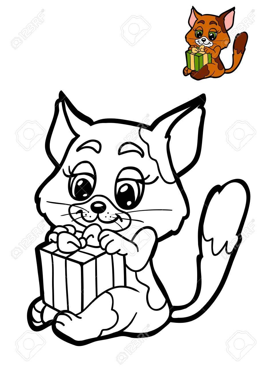 Libro De Colorear Para Niños, Animales De Navidad, Gato Fotos ...