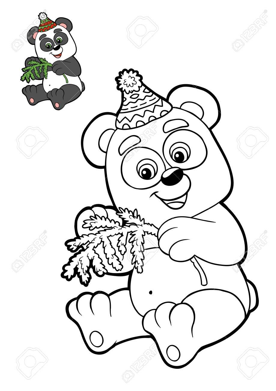 Dibujo Para Colorear Para Niños, Animales De Navidad, Panda Fotos