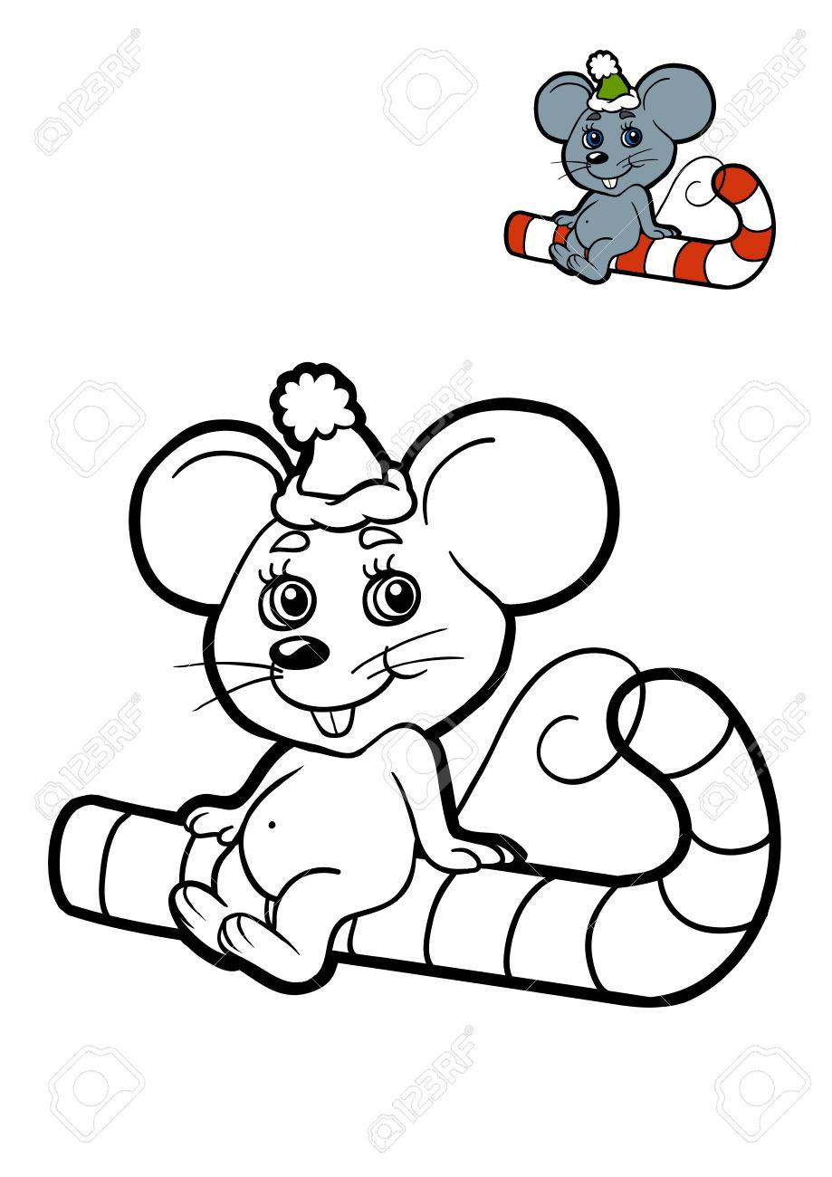 coloring book for children christmas animals mouse stock photo 70379205