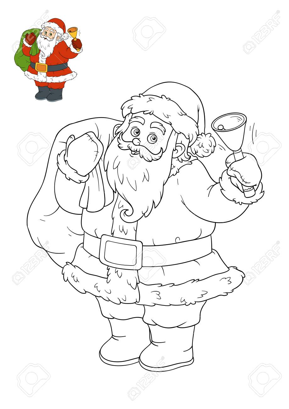 Coloring Book For Children, Santa Claus Stock Photo, Picture And ...