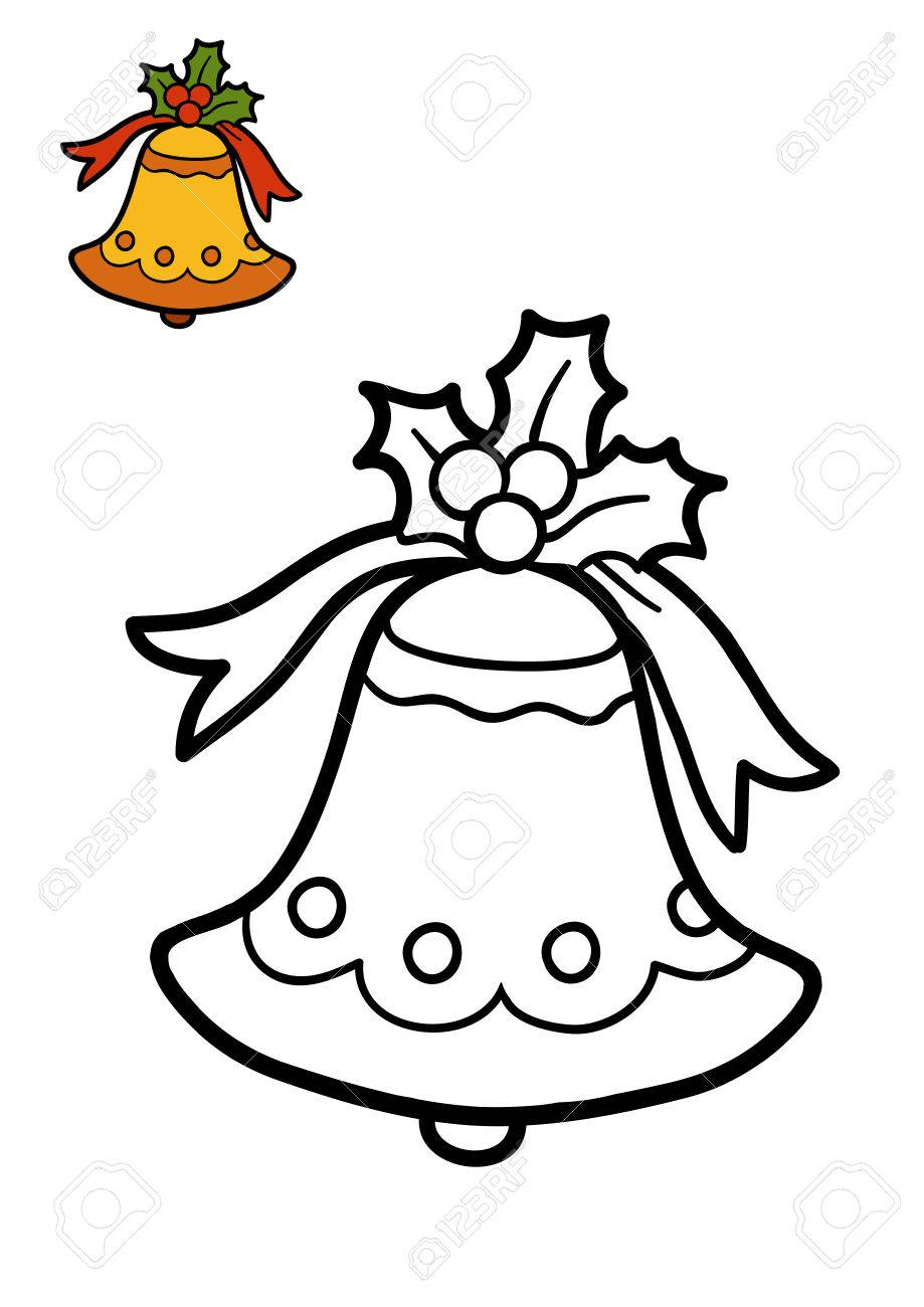 Coloring Book For Children, Christmas Bell Stock Photo, Picture And ...