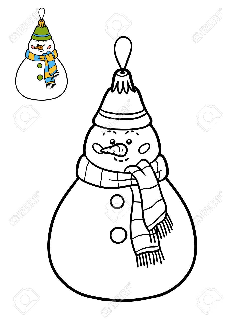 Coloring Book For Children Christmas Tree Toy Snowman Stock Photo