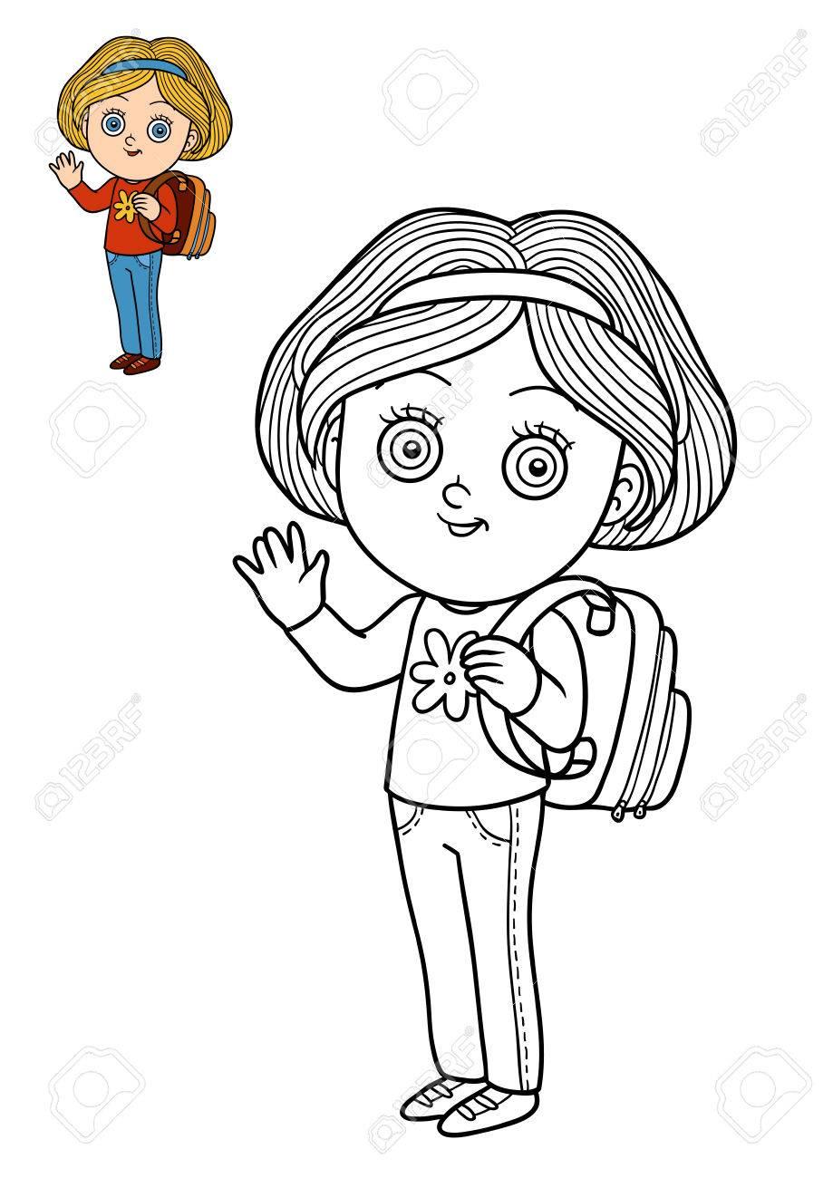 Coloriage De Dessin Anime Pour Fille.Livre A Colorier Pour Enfants Ecole De Dessin Anime Fille Banque D