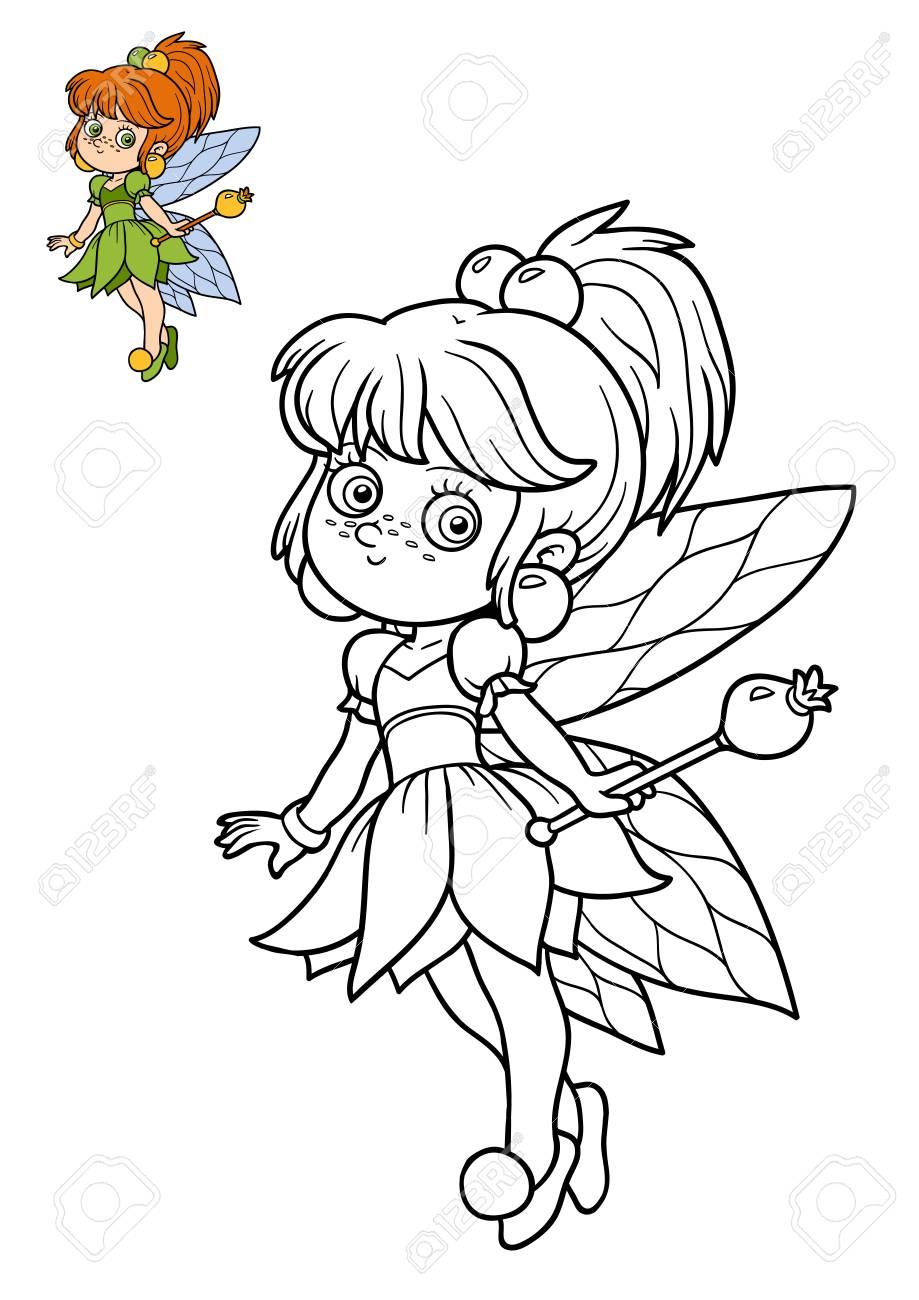 Livre de coloriage pour enfants, fille de fée
