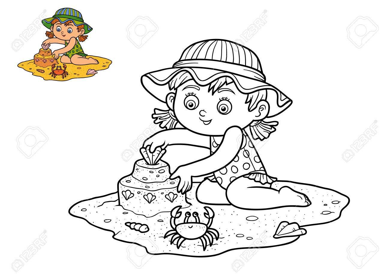Dibujo Para Colorear Para Niños, Chica En La Playa Fotos, Retratos ...