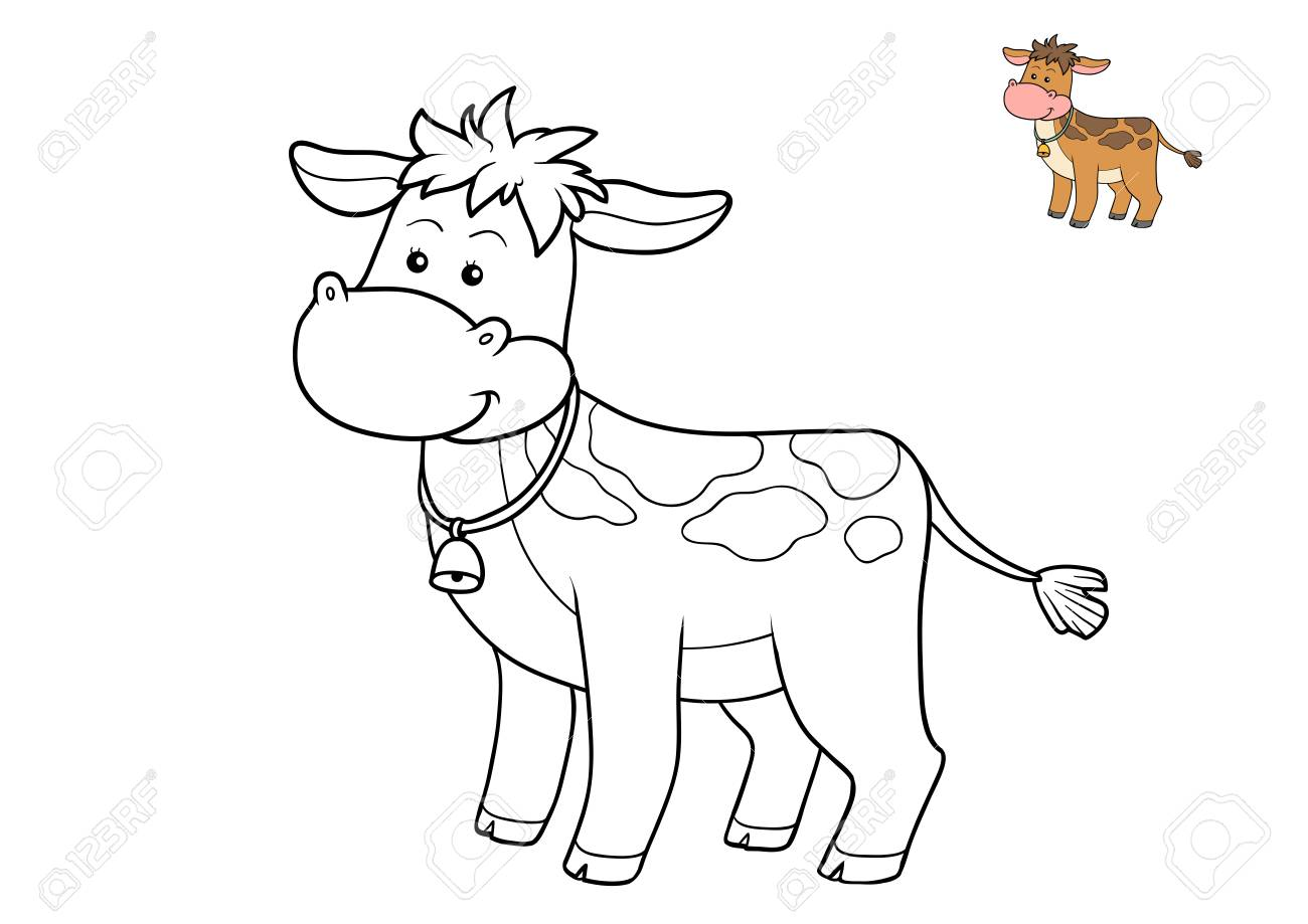 Coloring Book For Children, Cow Stock Photo, Picture And Royalty ...